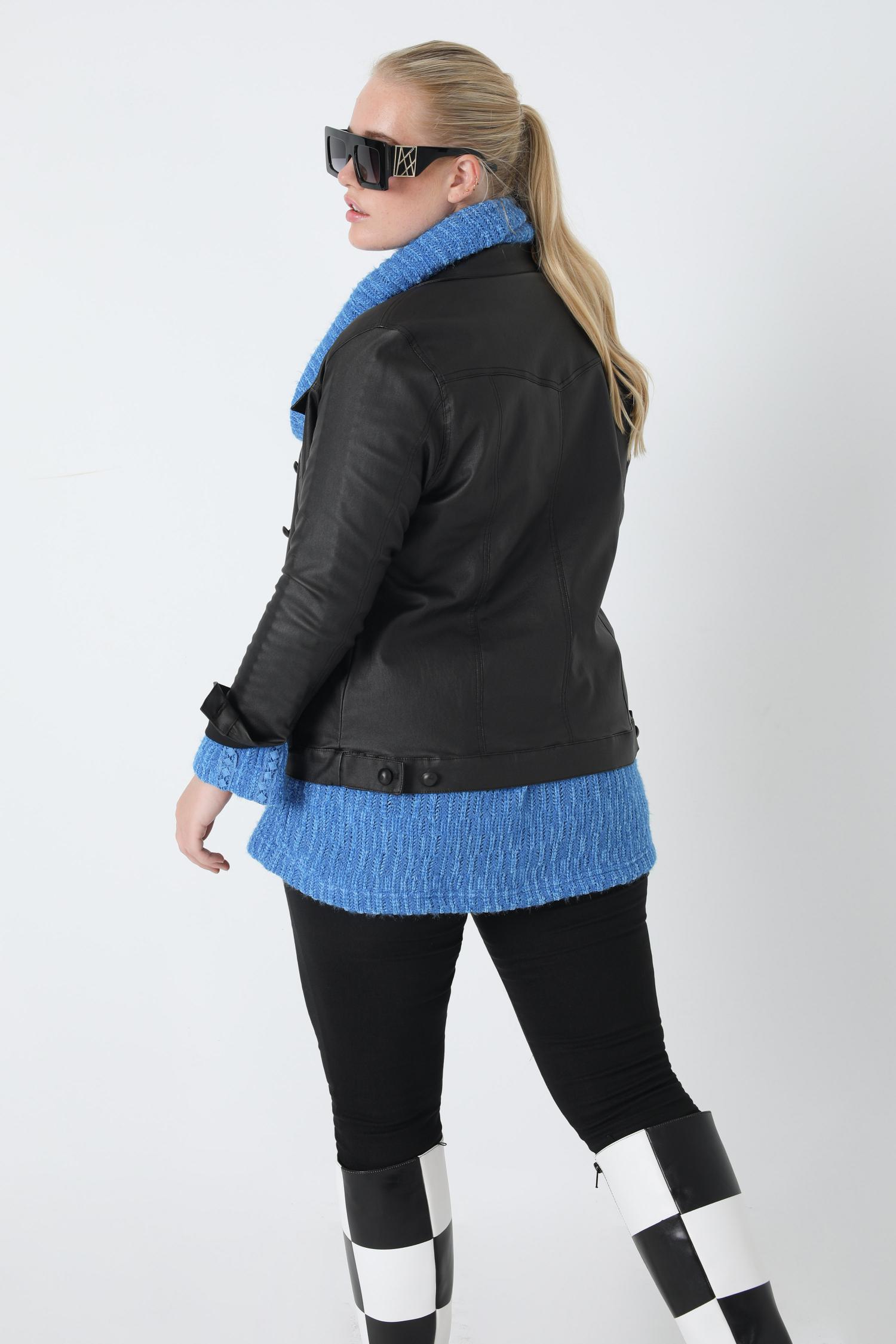 Coated denim-style jacket