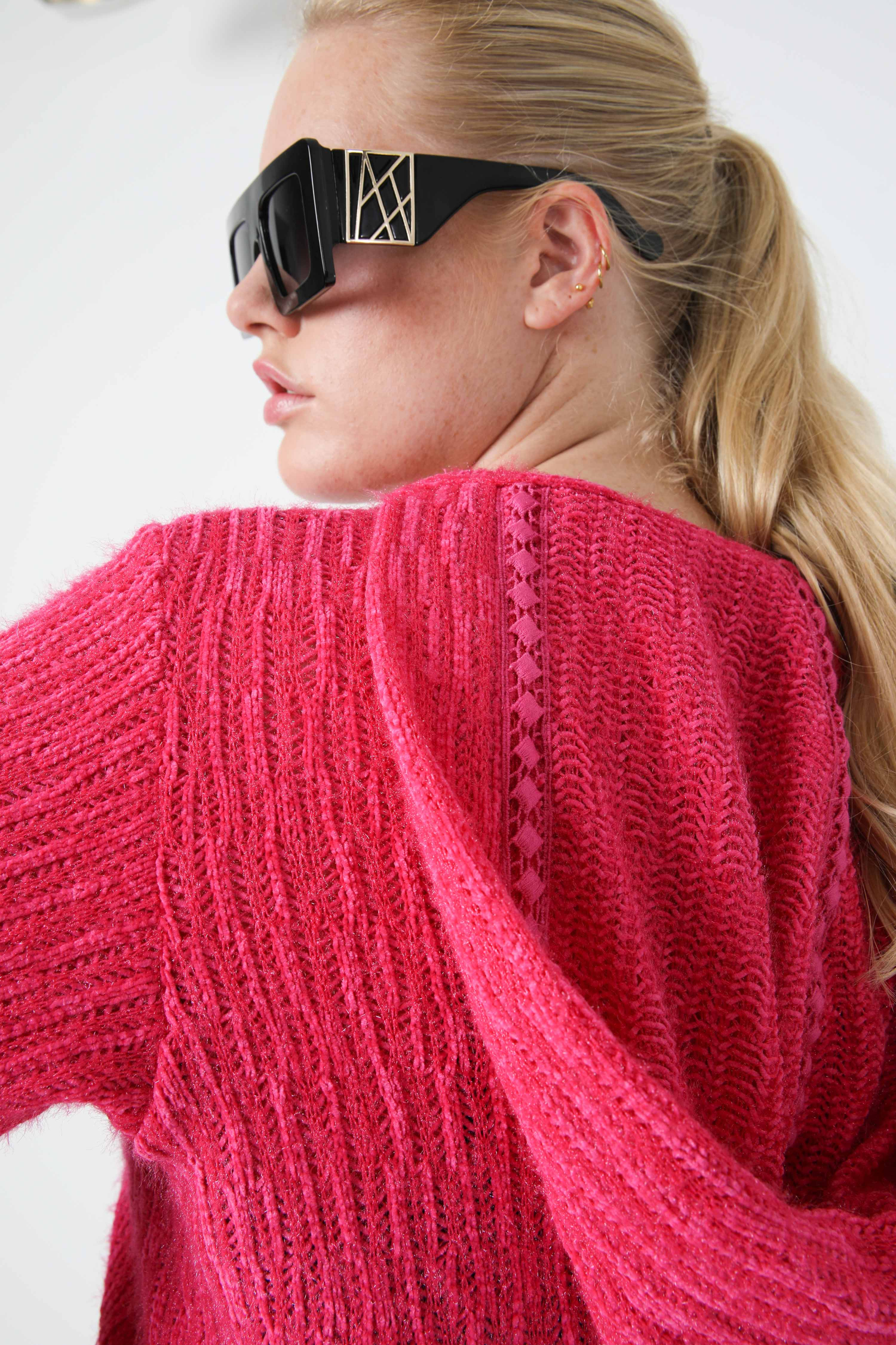 Chenille sweater with hood