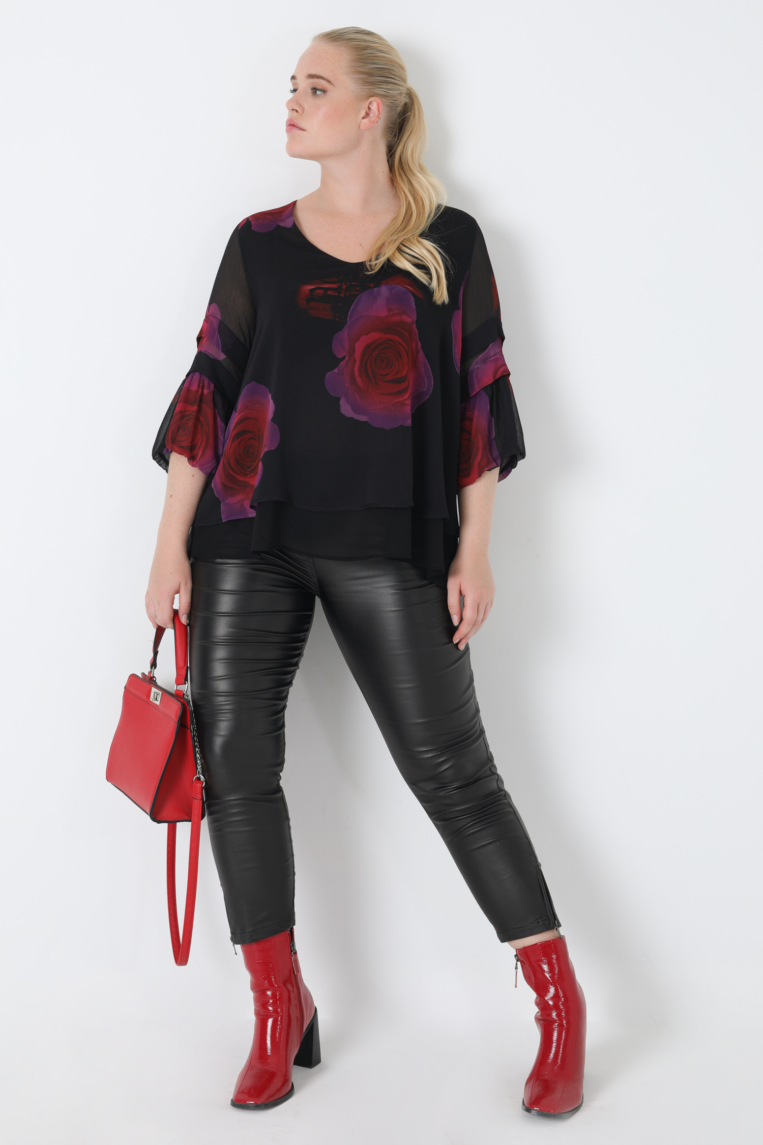 Layered A-line blouse in printed voile