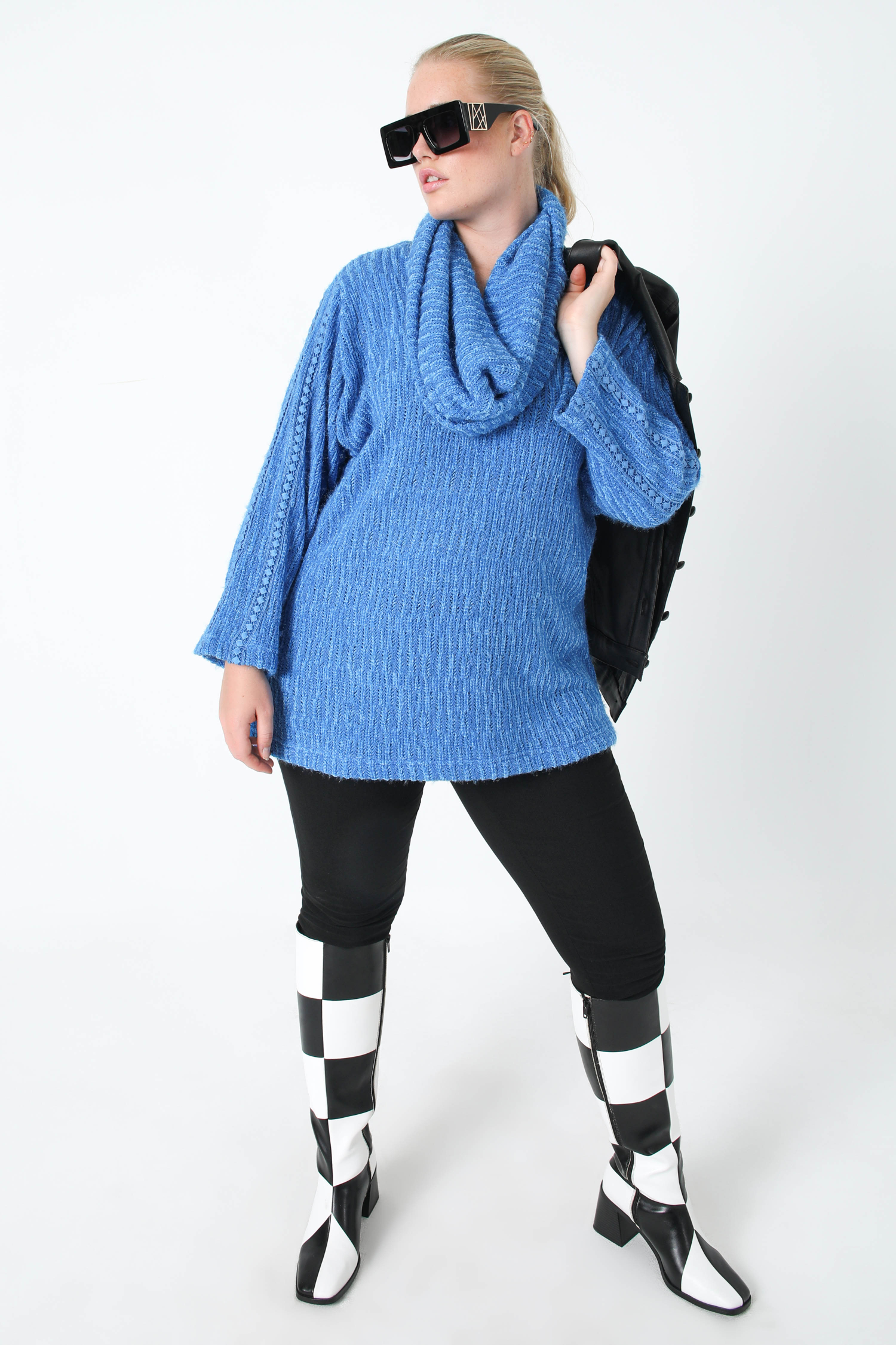 Heather chenille knit sweater