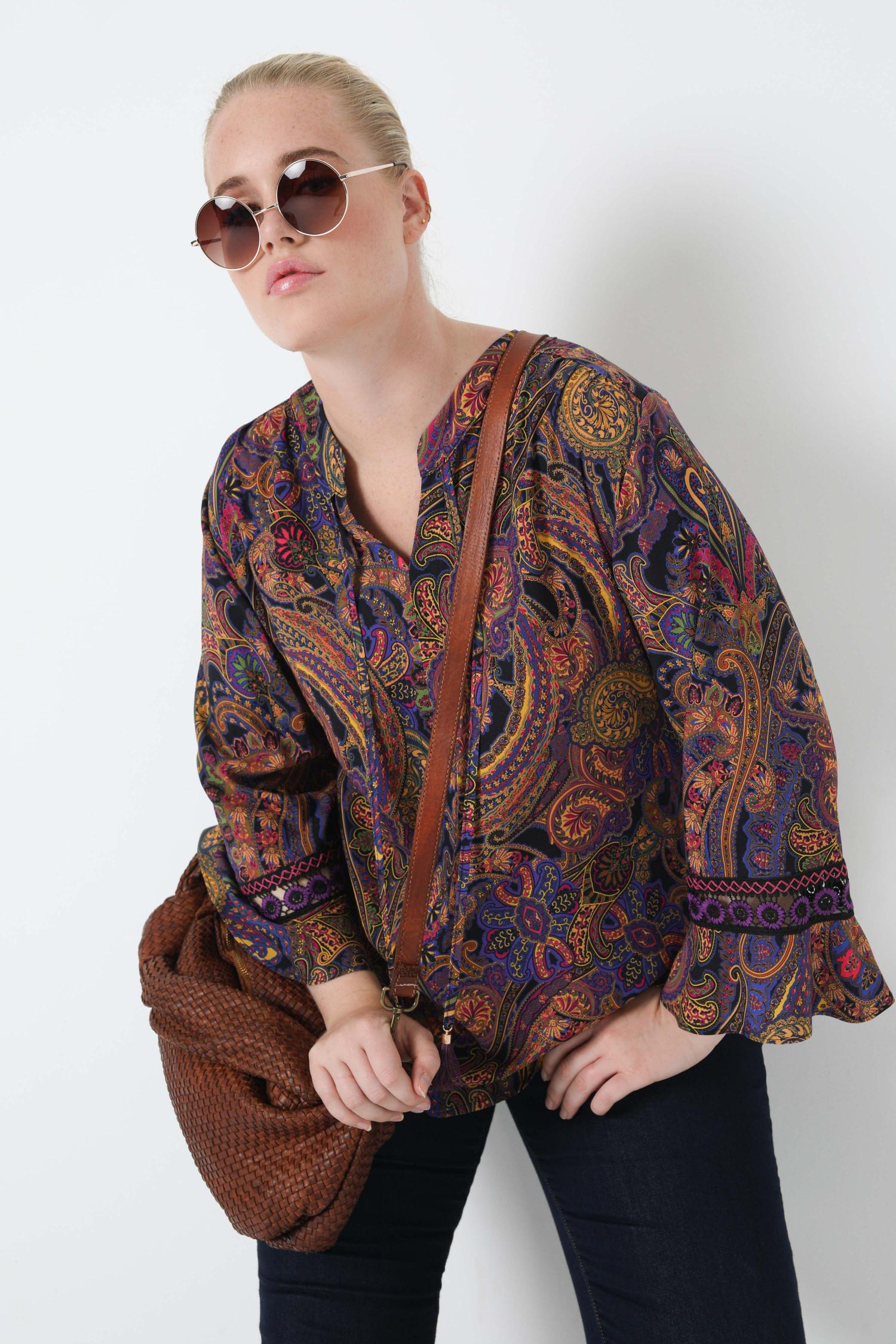 Printed blouse with mandarin collar