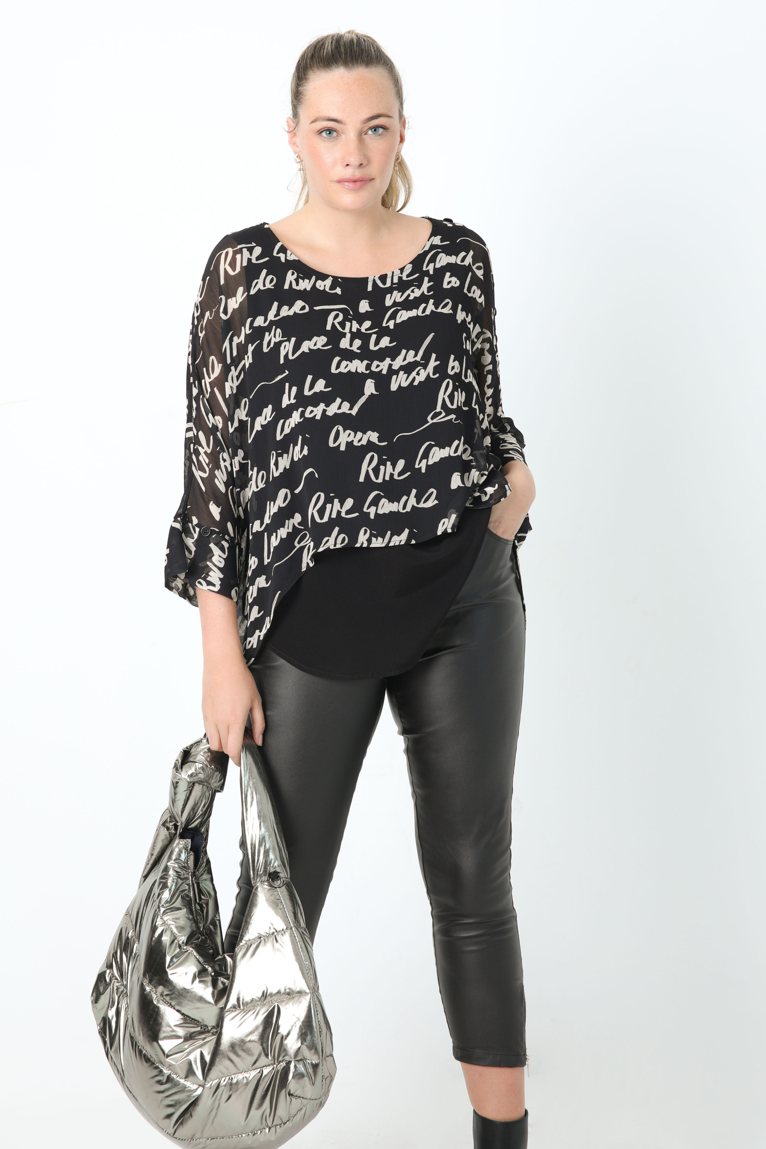 Veil overlay blouse with placed design