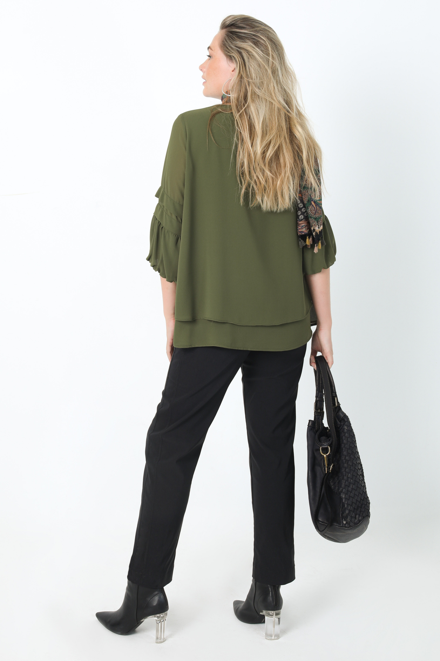 Layered A-line blouse in plain veil