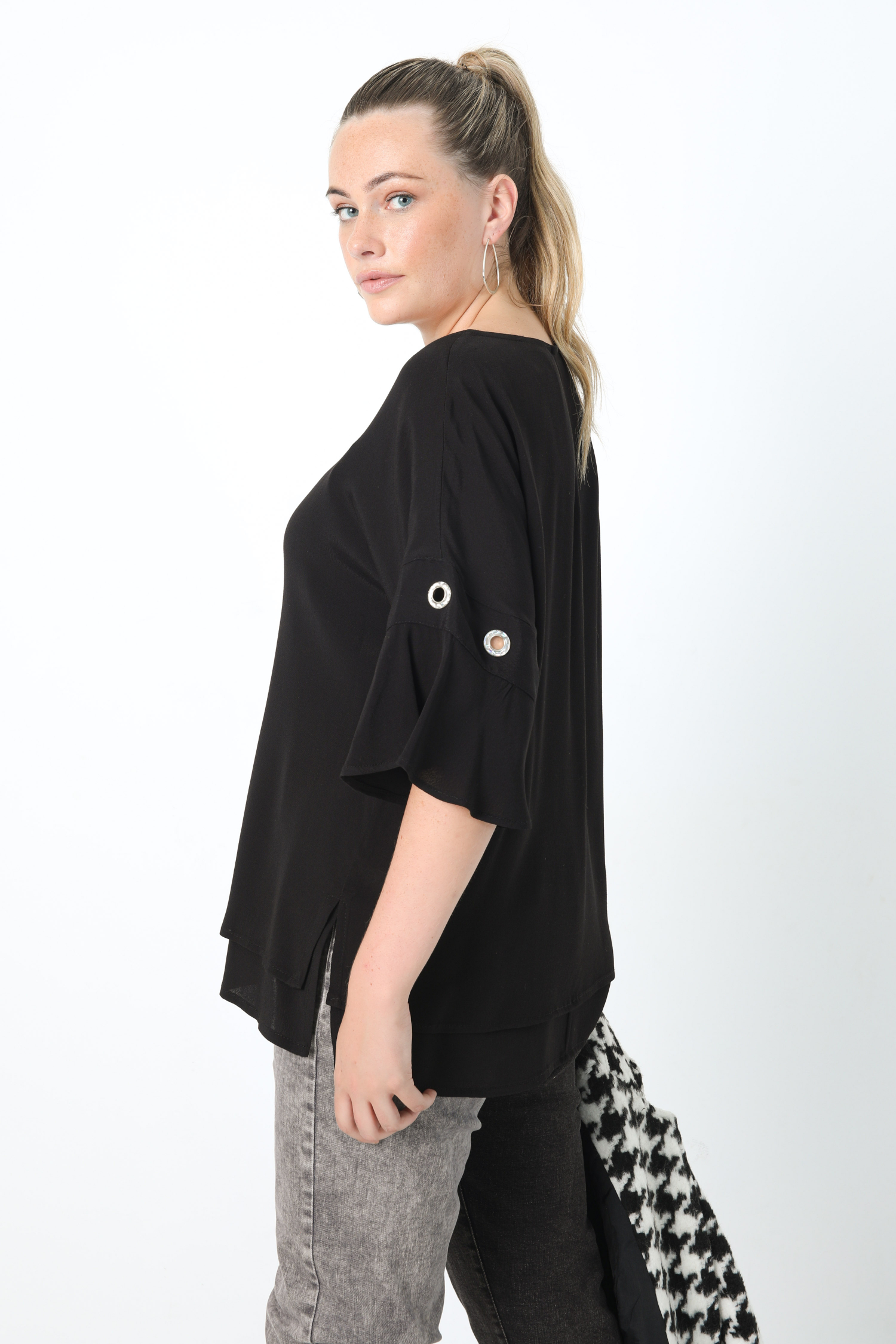 Voile blouse lined in overlay