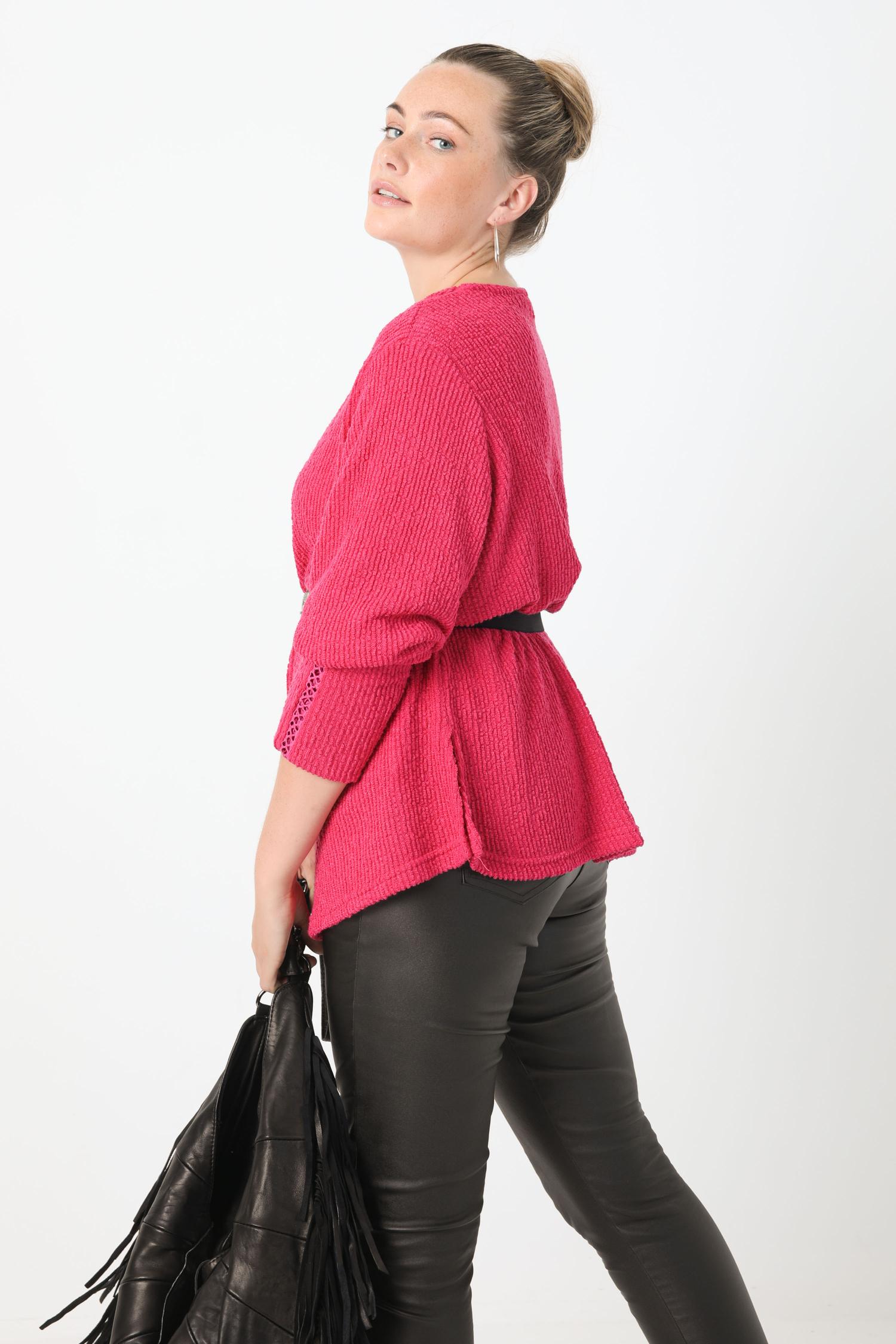 Plain chenille V-neck sweater