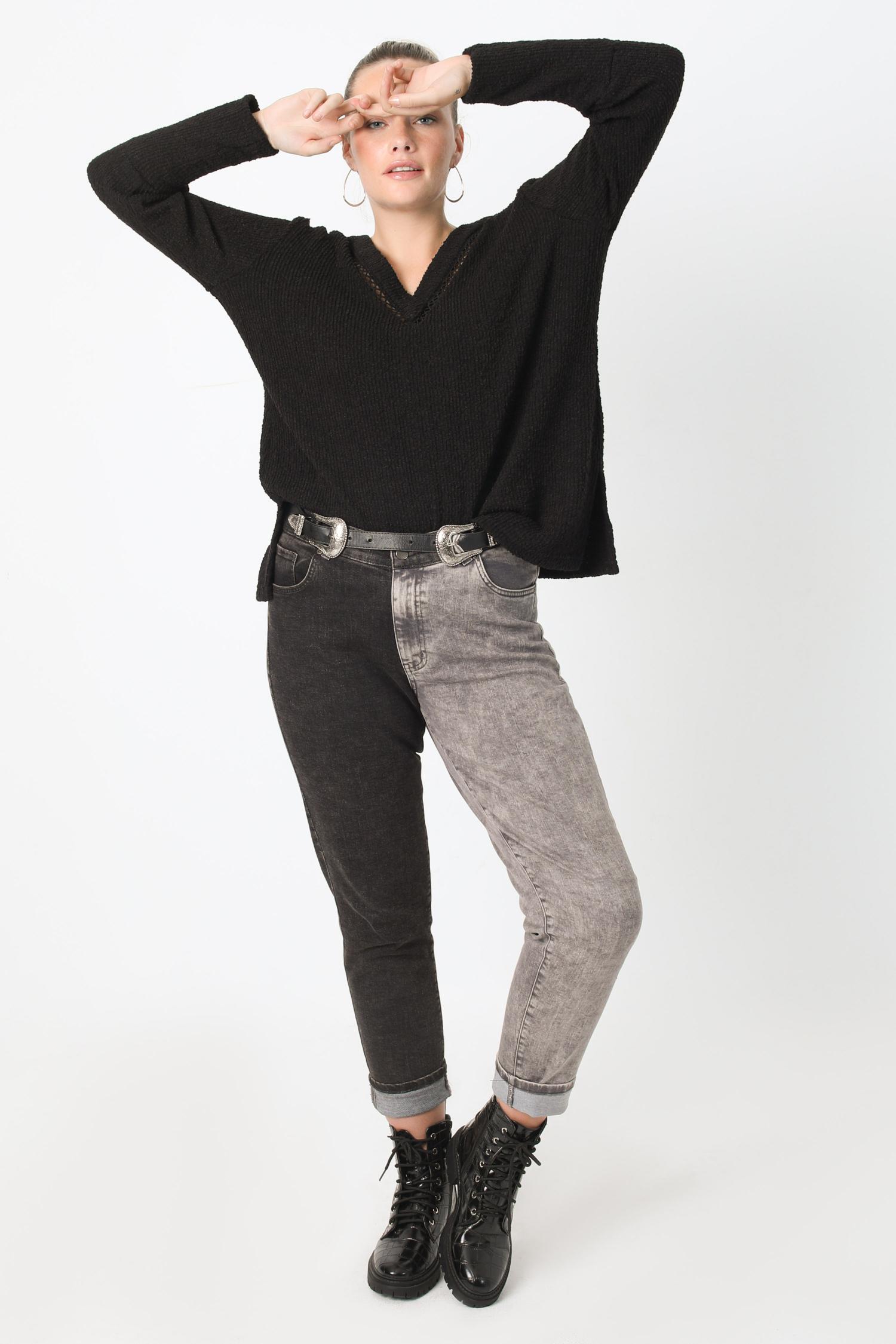 V-neck chenille knit plain sweater