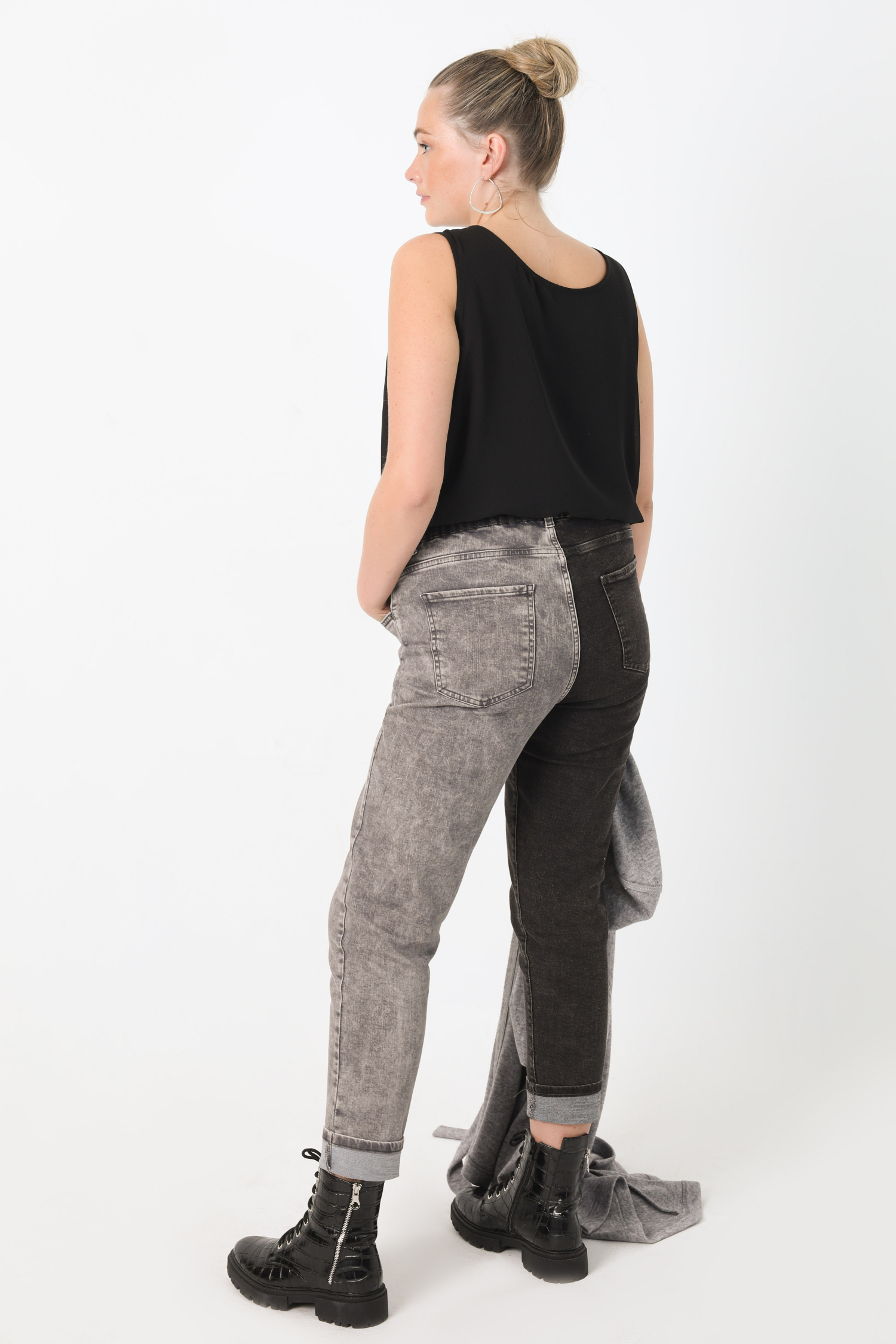 5-pocket two-tone jeans