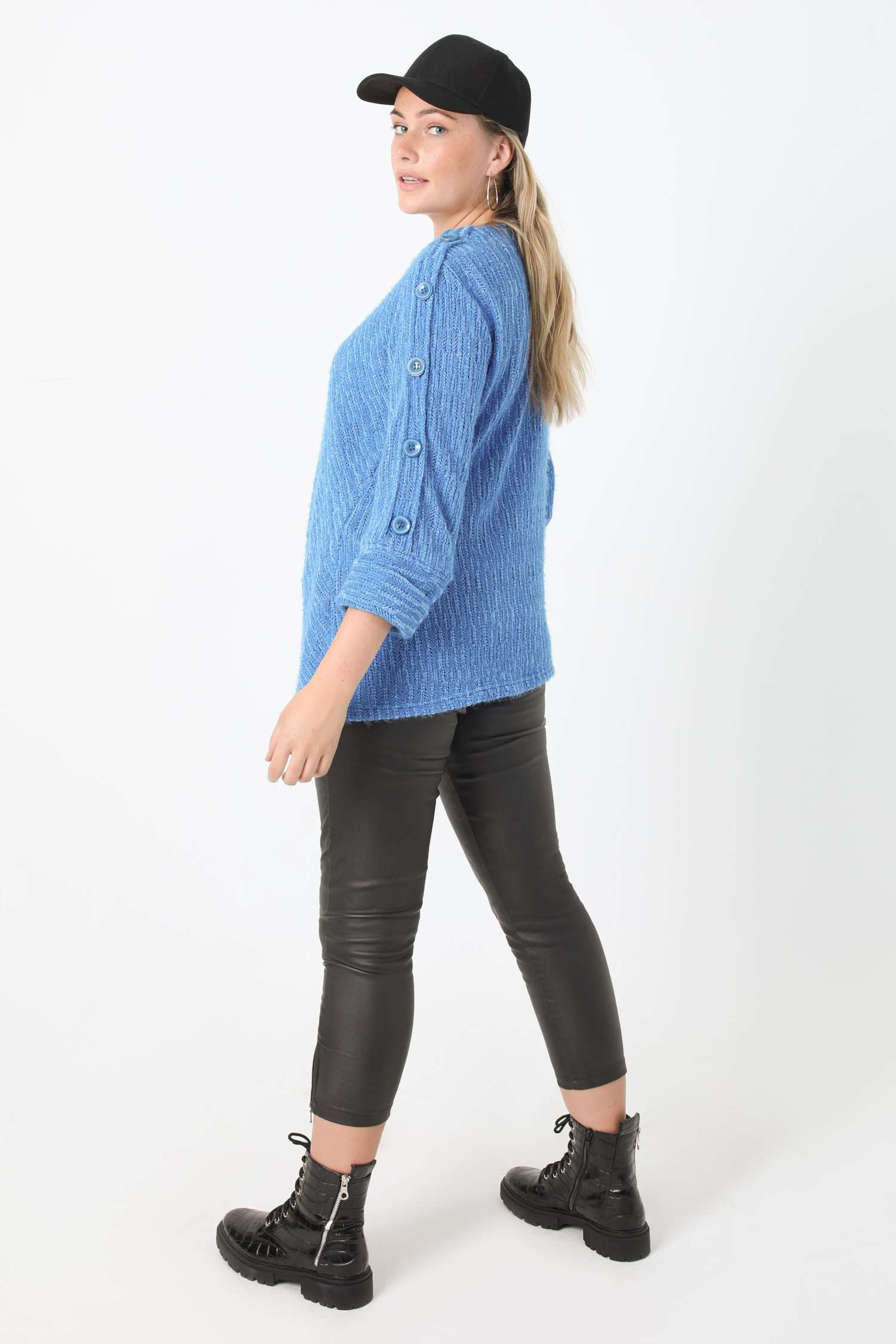 Plain chenille knit sweater with decorative buttons