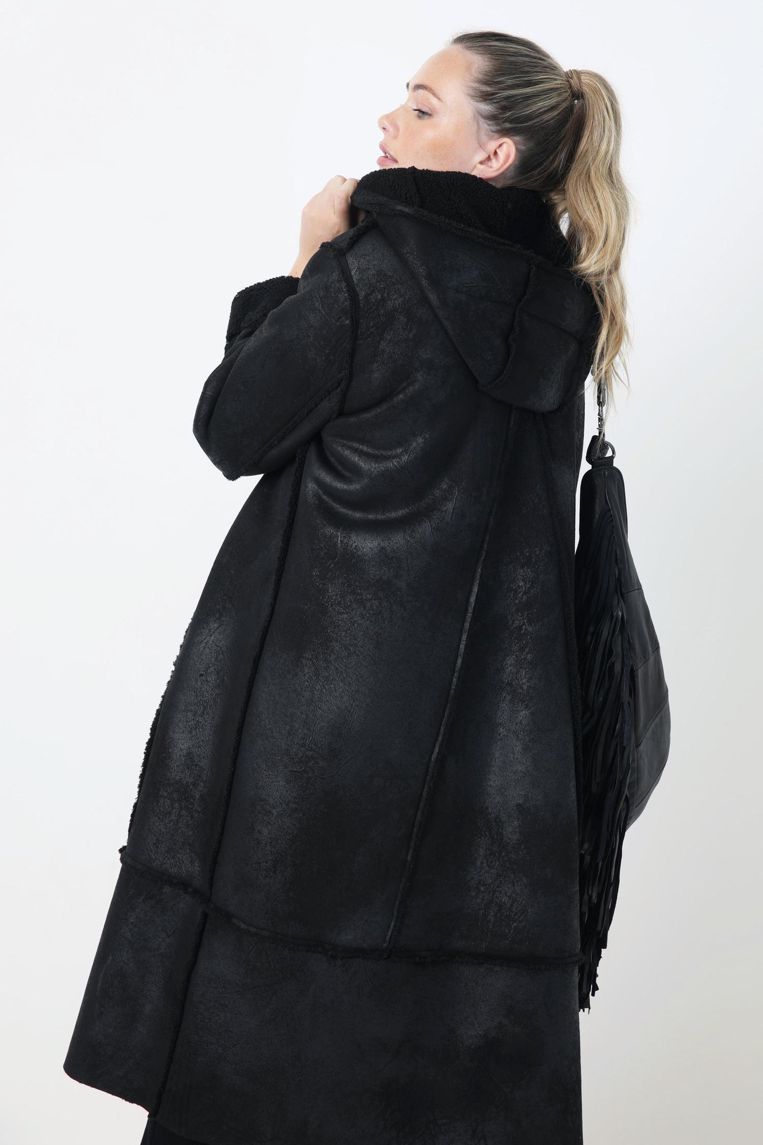Vegan shearling hooded coat