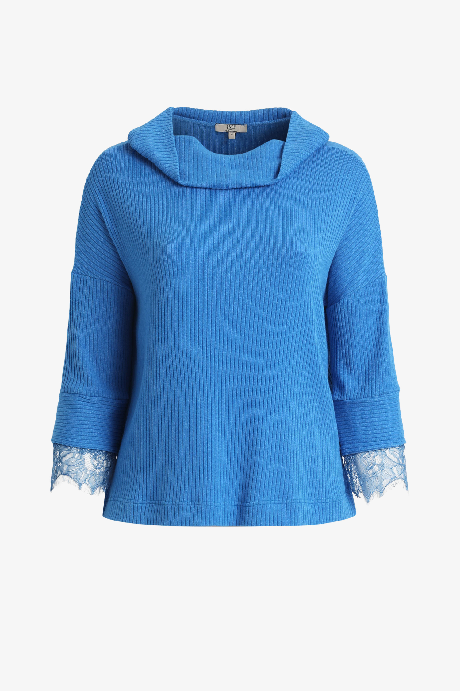 Ribbed solid-knit sweater with lace