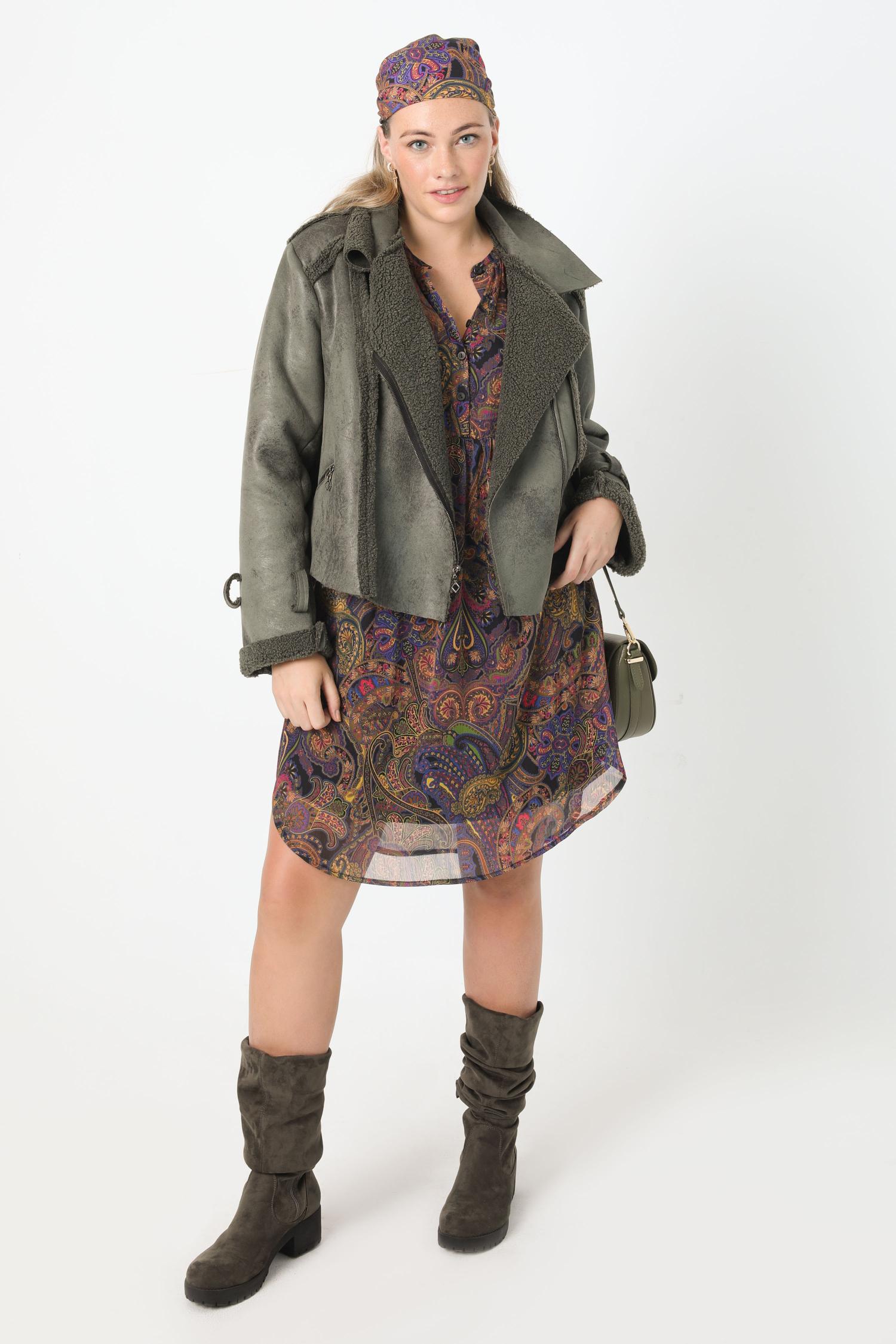 Short vegan suede biker jacket (Shipping October 5/10)