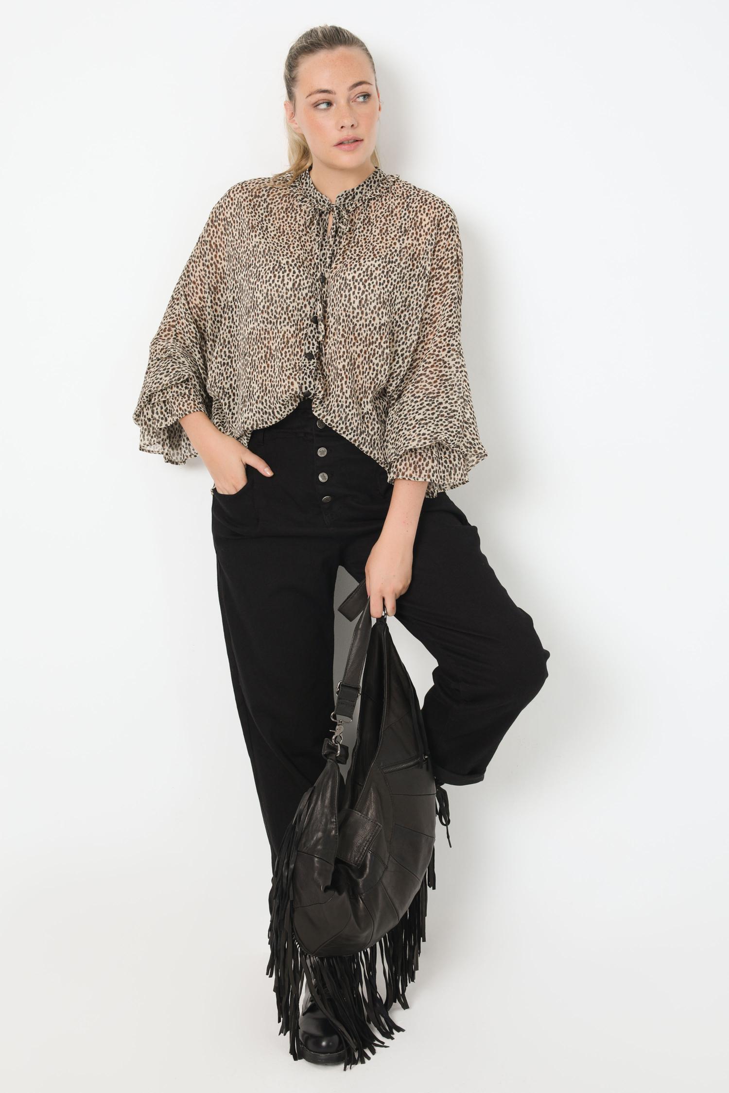 Mandarin collar shirt in printed veil with oeko-tex fabric (shipping October 15/20)