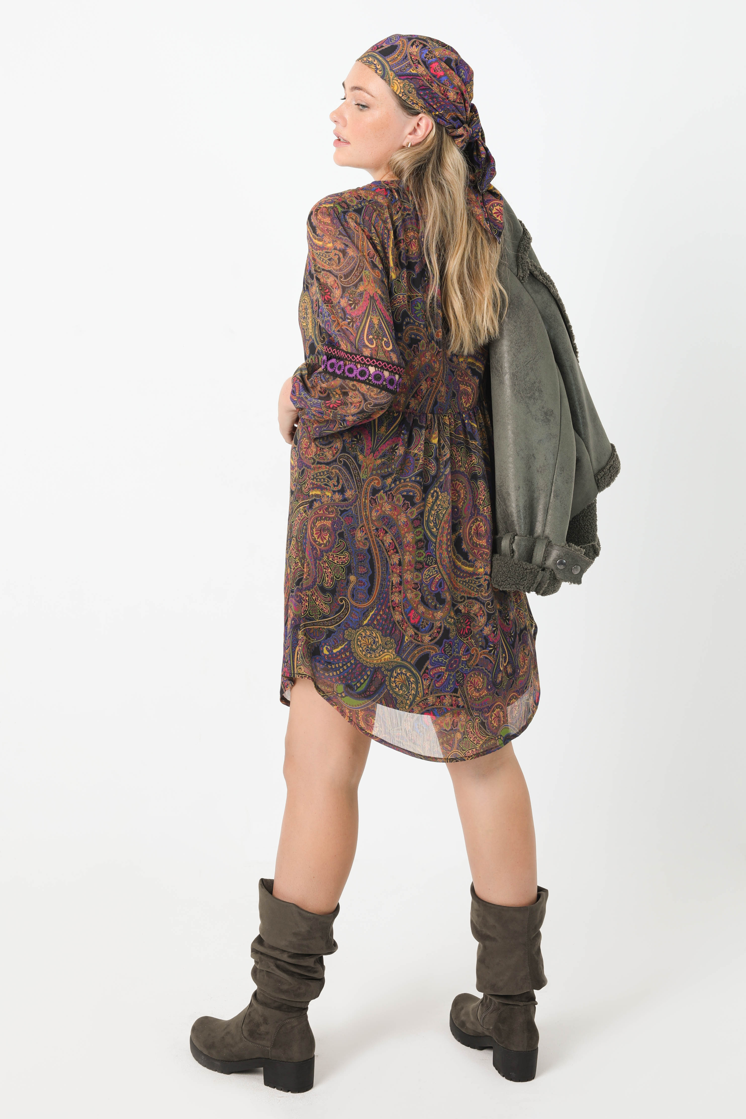 Printed voile dress with braid