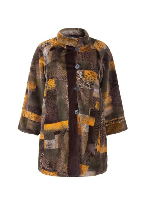 Manteau fourrure imprime-Kaki
