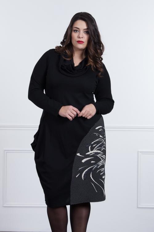 Robe long decoupe jacquard/col-Noir/rouge