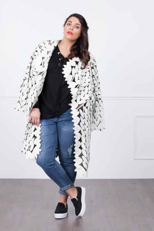 Manteau cuir semi-transparent-Noir