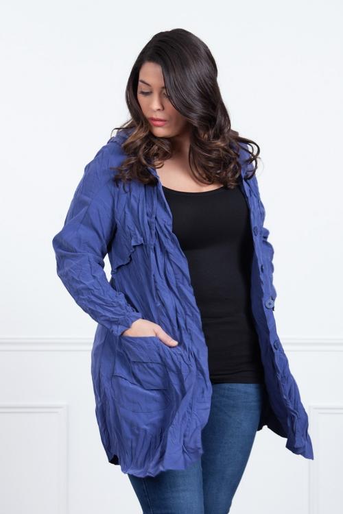 Manteau léger froissé à capuche
