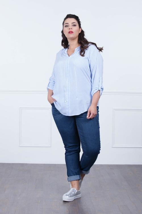 Chemise avec bijou-Grand raye bl