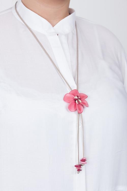 Collier fleur vegetale-Rose