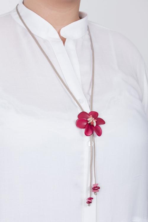 Collier fleur vegetale-Fushia