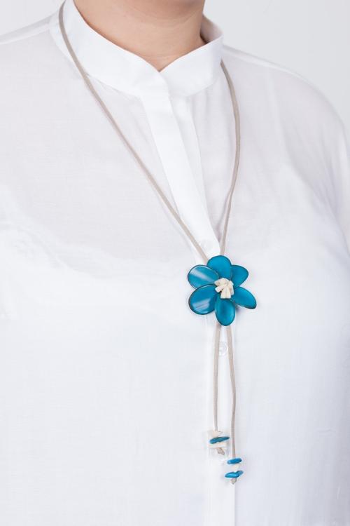 Collier fleur vegetale-Turquoise