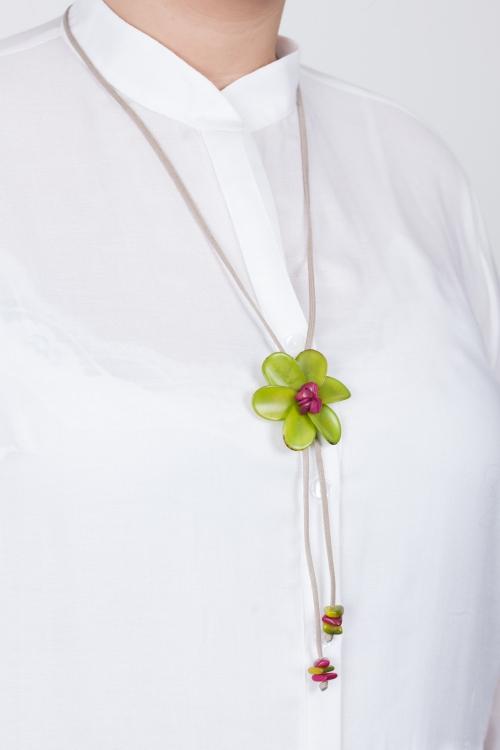 Collier fleur vegetale-Vert anis