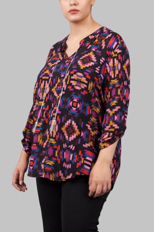 Chemise avec bijoux-Noir tetris