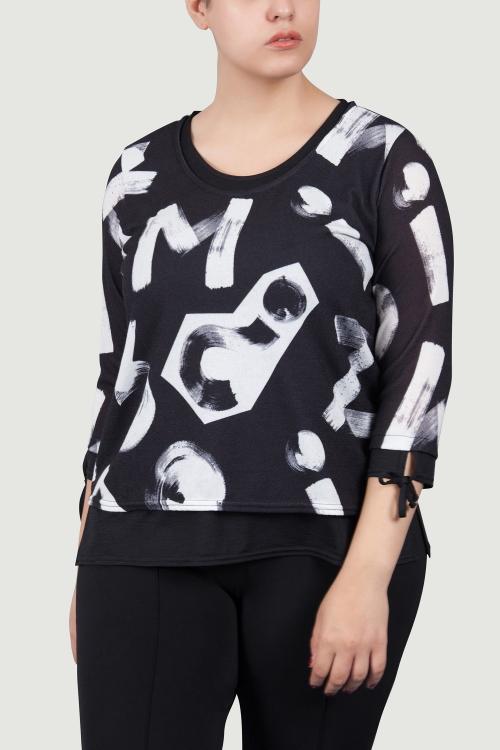 Ttp top jersey tricote imp-Noir lettre