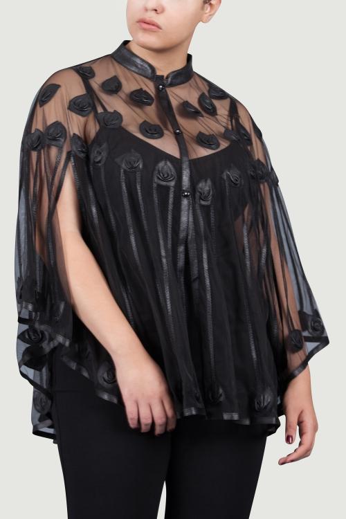 Gilet cape motif rose cuir-Noir noir