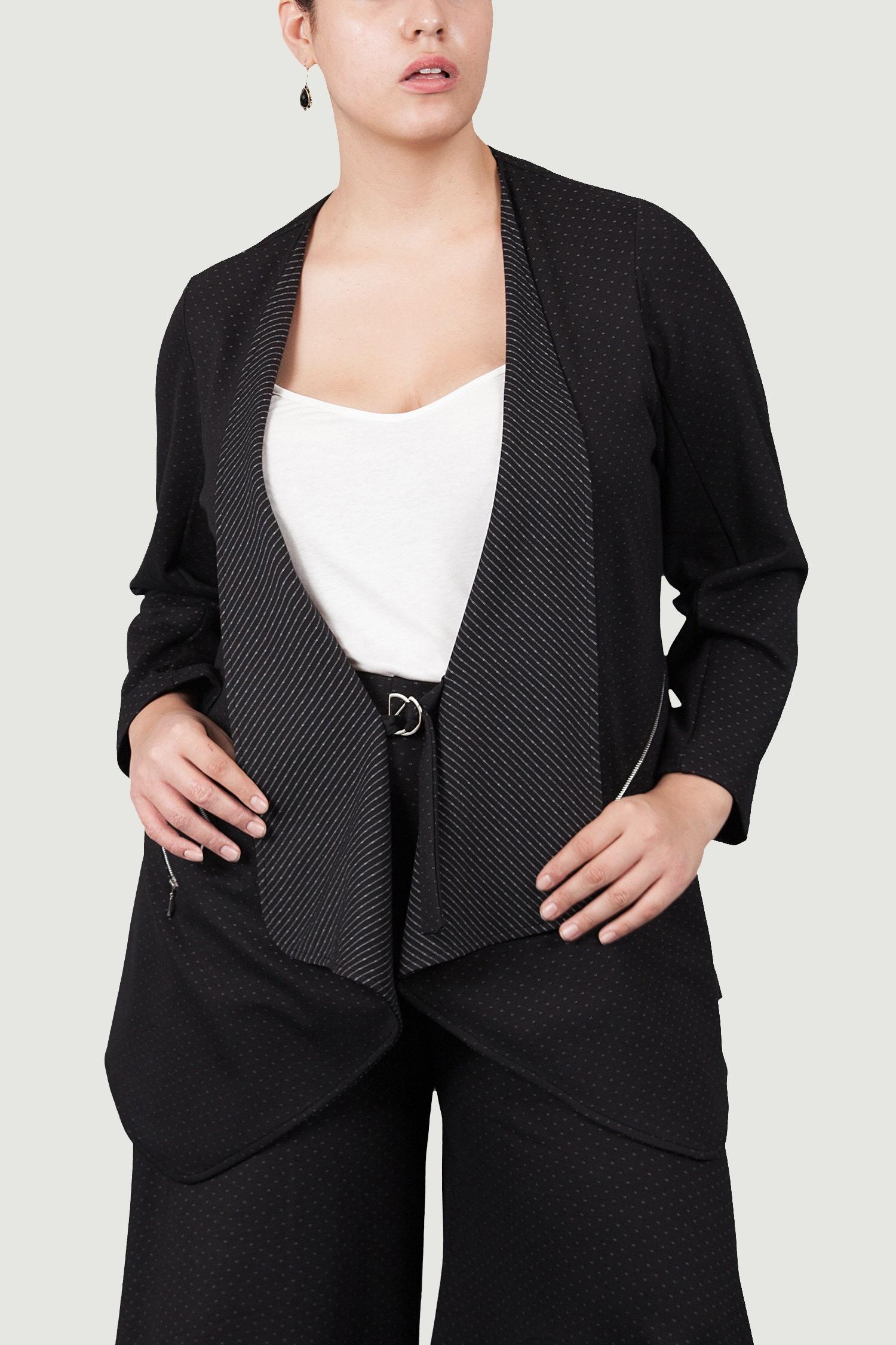 Veste avec zip - Noir pois