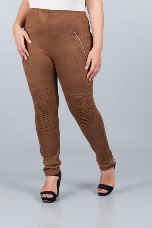 Photo de pantalon marron double face en suédine
